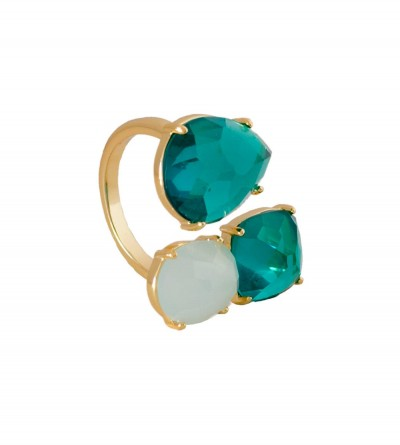 Anillo Bilyfer Pom Aqua Blanco